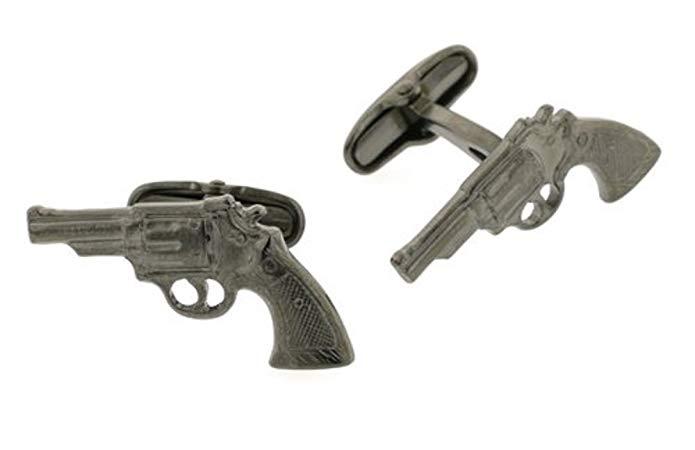 JJ Weston Black Nickel 38 Revolver Cufflinks. Made in the USA.