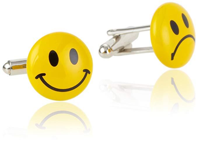 Geoffrey Beene Men's Happy Sad Face Cufflinks
