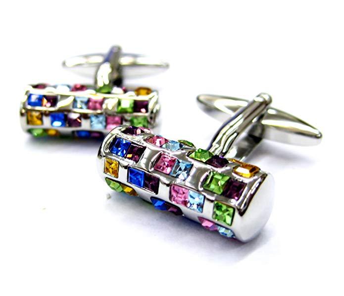 Tailor B Multi Color Crystals Tube Cufflinks 72 Stones 052041-1