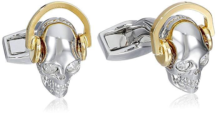 Tateossian Men's Skull Mania Dj Skull Earphones Cufflinks