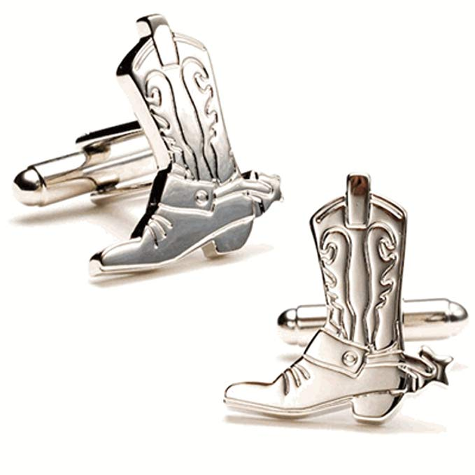 Western Silver Plated Boots and Spurs Cufflinks