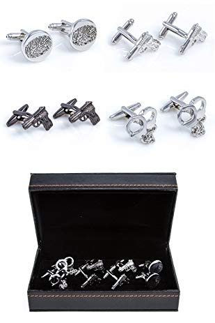 MRCUFF Police 4 Pairs Cufflinks in a Presentation Gift Box & Polishing Cloth