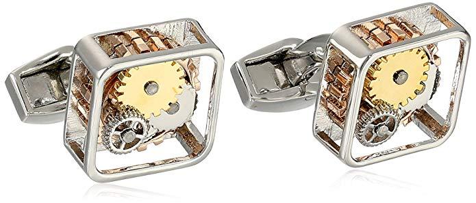 Tateossian Men's Mechanical Plated Gear Square Cufflinks